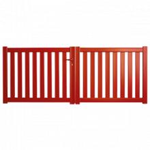 Portail aluminium avec cadre et remplissage à lames verticales ajourées - par Sidonie