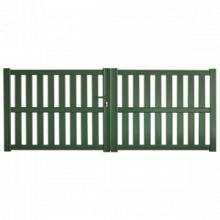 Portail aluminium avec cadre et remplissage à lames verticales ajourées avec une traverse intermédiaire - Gangapurna par sidonie